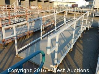 (2) Piece 19' Steel Deck Ramp and Platform with Adjustable Legs