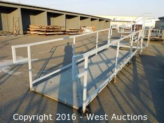 (3) Piece 20' Steel Deck Ramp and Platform with Stairs and Adjustable Height Legs