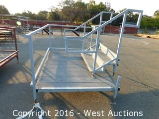 (2) Piece 7'x5' Steel Deck Platform with Stairs and Adjustable Height Legs