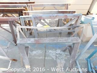 (6) Wooden/Steel Sawhorses