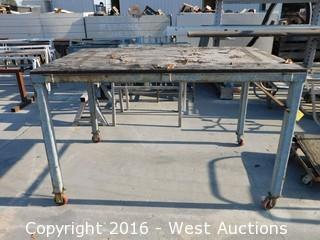 "(1) 67""x44""x42"" Tall Steel Framed Table on Casters"