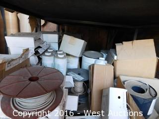 (1) Bottom Shelf Bulk Lot with Rubber Wall Bases, Welding Rod and Seam Sealer Chemicals
