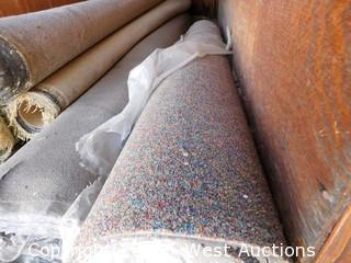 (1) Shelf with (7) Rolls of Used Carpets and Padding