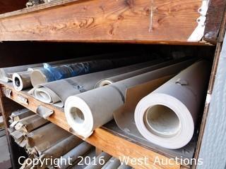 (1) Shelf with (8) Partial Rolls of Linoleum