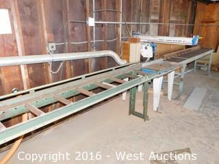 2004 Omga RN70 Radial Arm Saw with (2) 10' Roller Tables