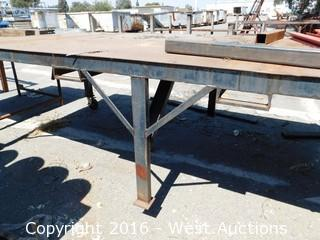 Welded Steel Work Table on Heavy Casters