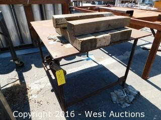 """Welded Steel Work Table with 1/2"""" Plate Top"""