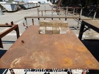 "Welded Steel Work Table with 1/2"" Plate Top"