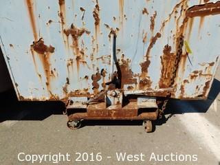Forklift Dump Bin on Metal Casters