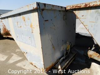 Forklift Dump Bin on Metal Casters