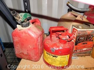 Contents of Shelf; Gas Cans, Chemicals