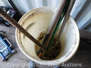 (5) Shovels/Rakes with Plastic Barrel