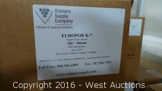Pallet of (14) Boxes of Europor K-30, K-10, K-7 Depth Filter Sheets