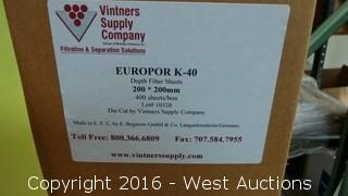 (3) Boxes Europor K-40 Depth Filter Sheets