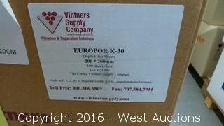 (2) Boxes of Europor K-30 Depth Filter Sheets