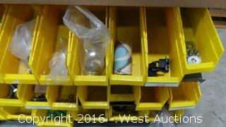 Yellow Parts Bin with Assorted Parts