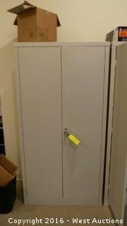 Metal Storage Cabinet with Office Supplies
