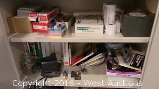 Metal Storage Cabinet with Office Supplies and Printer Cartridges