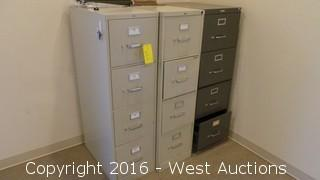 (3) 4-Drawer Metal File Cabinets