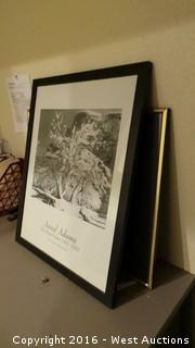 Desk with Framed Prints