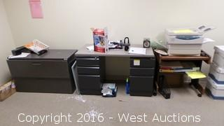 Contents of Office - Desks, Tables, Printers, Cabinets