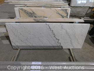 "(1) 69""x26"" Pre-Fabricated White Corvava Marble Countertop"