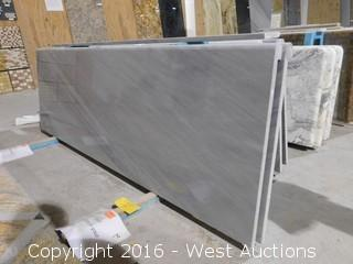"(1) 73-3/4""x26"" Pre-Fabricated Gray and White Marble Countertop"