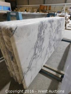 "(1) 76""x23"" Pre-Fabricated Jazz White Marble Countertop"