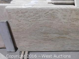 "(1) 84.5""x26"" Pre-Fabricated Rosa Tea Marble Countertop"