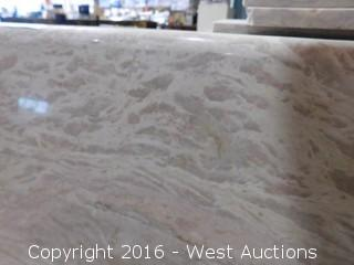 "(1) 86""x26"" Pre-Fabricated Rosa Tea Marble Countertop"