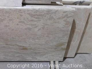 "(1) 78-3/4""x26"" Pre-Fabricated Rosa Tea Marble Countertop"