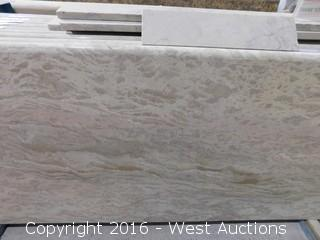 "(1) 59.5""x26"" Pre-Fabricated Rosa Tea Marble Countertop"
