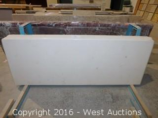 "(1) 62""x23"" Pre-Fabricated Rossa Florito Marble Countertop"