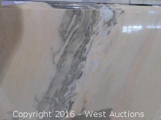 "(1) 74.5""x26"" Pre-Fabricated Rose Pink Marble Countertop"