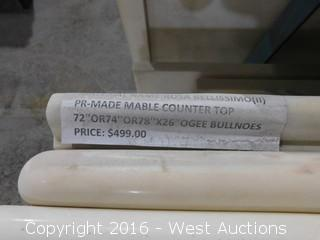 """(1) 74.5""""x26"""" Pre-Fabricated Rosa Bellissimo Marble Countertop"""