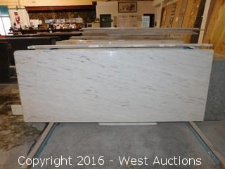 "(1) 67""x26"" Pre-Fabricated Pink Cystal White Marble Countertop"