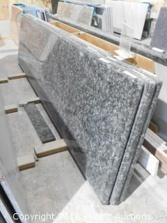 "(1) 110""x26"" Pre-Fabricated Forest Blue Granite Countertop"