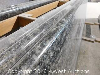 "(1) 89""x26"" Pre-Fabricated Forest Blue Granite Countertop"
