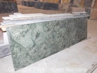 "(1) 87.5""x26"" Pre-Fabricated Empress Green Granite Countertop"