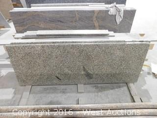 "(1) 72.5""x26"" Pre-Fabricated Rose Green Granite Countertop"