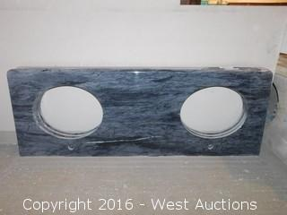 "(1) 62""x23"" Granite Vanity Dual Sink Countertop"