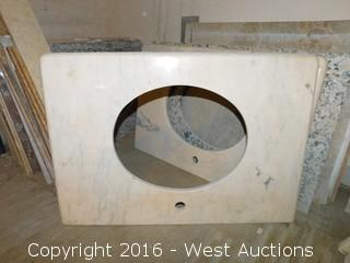 "(1) 32.5""x22"" Granite Vanity Sink Countertop"