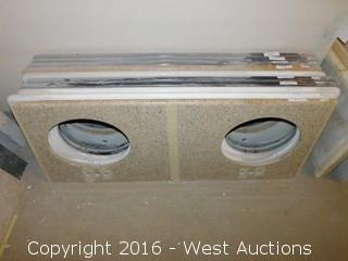 """(1) 60""""x23"""" Granite Vanity Dual Sink Countertop"""