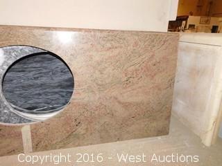 "(1) 62""x23"" Granite Vanity Sink Countertop"