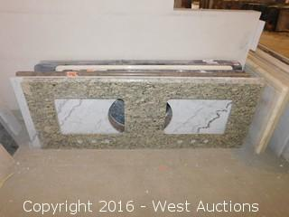 "(1) 62""x23"" Granite Vanity Dual Square Sink Countertop"