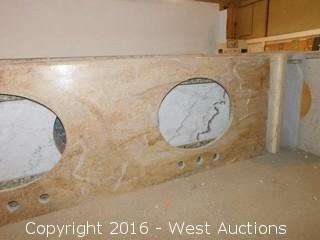 "(1) 67""x23"" Granite Vanity Dual Sink Countertop"