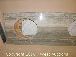 "(1) 66.5""x23"" Granite Vanity Dual Sink Countertop"