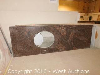 "(1) 69.5""x23"" Granite Vanity Sink Countertop"