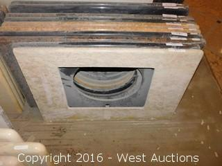 "(1) 37.5""x22"" Granite Vanity Square Sink Countertop"