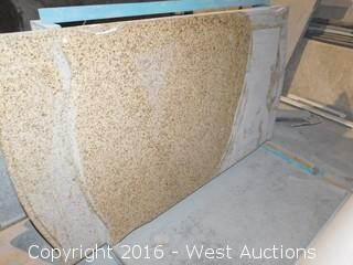 "(1) 65"" x 40"" Pre-Fabricated Granite Countertop, Rounded Ends"